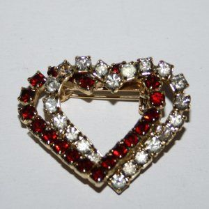 Vintage gold heart brooch with white and ruby rhin